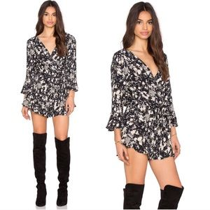•Free People• All The Right Ruffles Romper Black